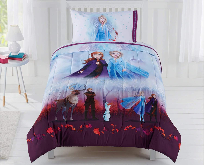 Disney Frozen Elsa Anna Kids Queen Comforter & Sheets- 5 Piece Bed in A Bag + Homemade Wax Melts