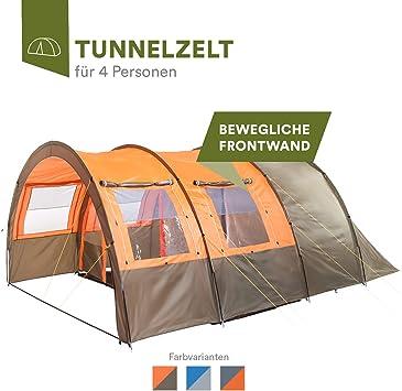 skandika Kemi - 4 Personas - Tienda de campaña - túnel - mosquiteras - 480x340cm - Varillas Fibra óptica (Verde/Naranja): Amazon.es: Deportes y aire libre