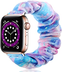 Vcegari Scrunchie Band for Apple Watch SE 40mm Series 6 5 4, Soft Fabric Printed Elastic Scrunchy Bracelet Bands for iWatch 38mm Series 3/2/1 Women Girls, Starry S/M