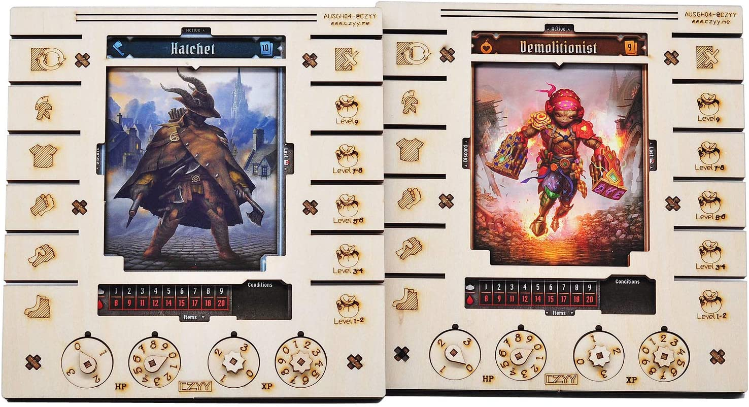 JOTL Player Character Dashboard with HP & XP Dial Trackers Set of 2 Birch Plywood Hero Organizer Saving Your Table Space Great for Gloomhaven Jaws of the Lion
