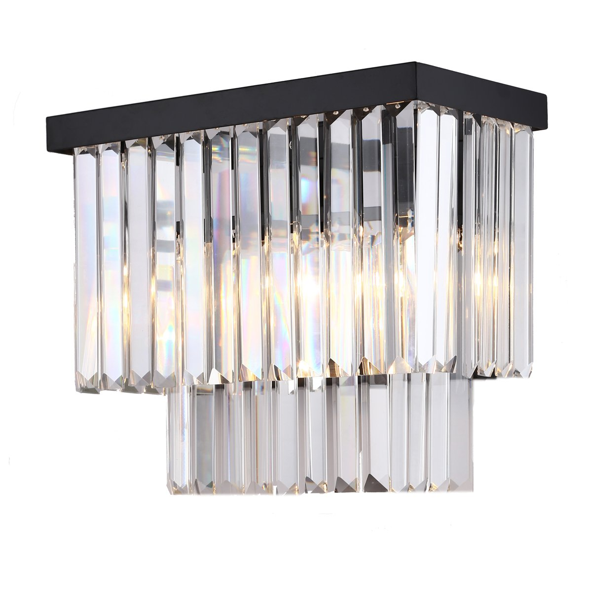 Crystal Prism Wall Sconce Lamp 2 Lights Ceiling Light Creative Modern Simple Wall Lamp Hotel Retro Bedside Living Room Bedroom Wall Light Black Metal + Clear Crystals CZ098B