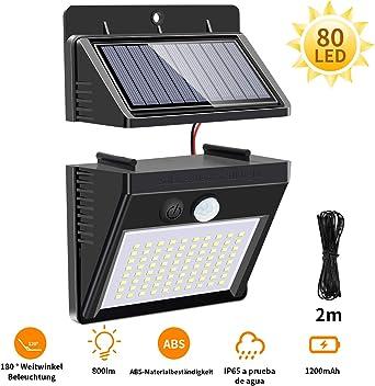 Luz Solar Exterior, Mewtwo Focos Led Exterior Solares con Sensor de Movimiento Impermeable Ángulo 270º (80): Amazon.es: Iluminación
