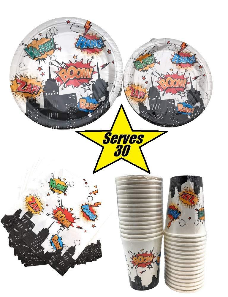 Serves 30 | Complete Party Pack | Superhero | 9'' Dinner Paper Plates | 7'' Dessert Paper Plates | 9 oz Cups | 3 Ply Napkins | Super Hero Party Theme