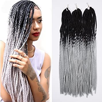 amazon com 24 handmade dreads ombre black to grey braiding hair