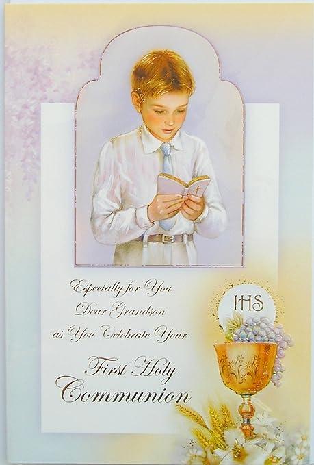 Nieto tarjeta de primera Comunión Cáliz Boy: Amazon.es: Hogar