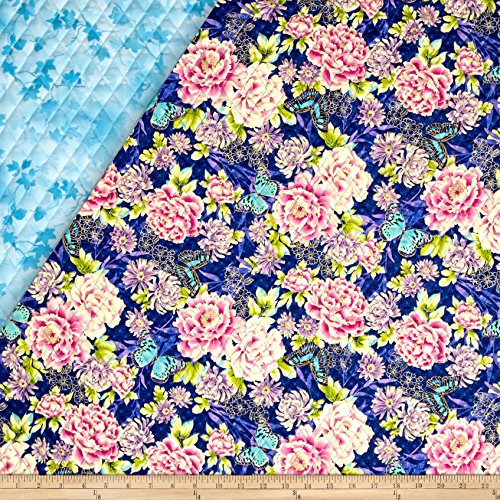 Flights Of Fancy Double Sided Quilted Oriental Flower Blue Fabric By The Yard