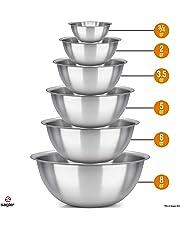Sagler 4425 Mixing Bowls, ¾, ¾, 2, 3.5, 5, 6, 8 Quart, Stainless Steel