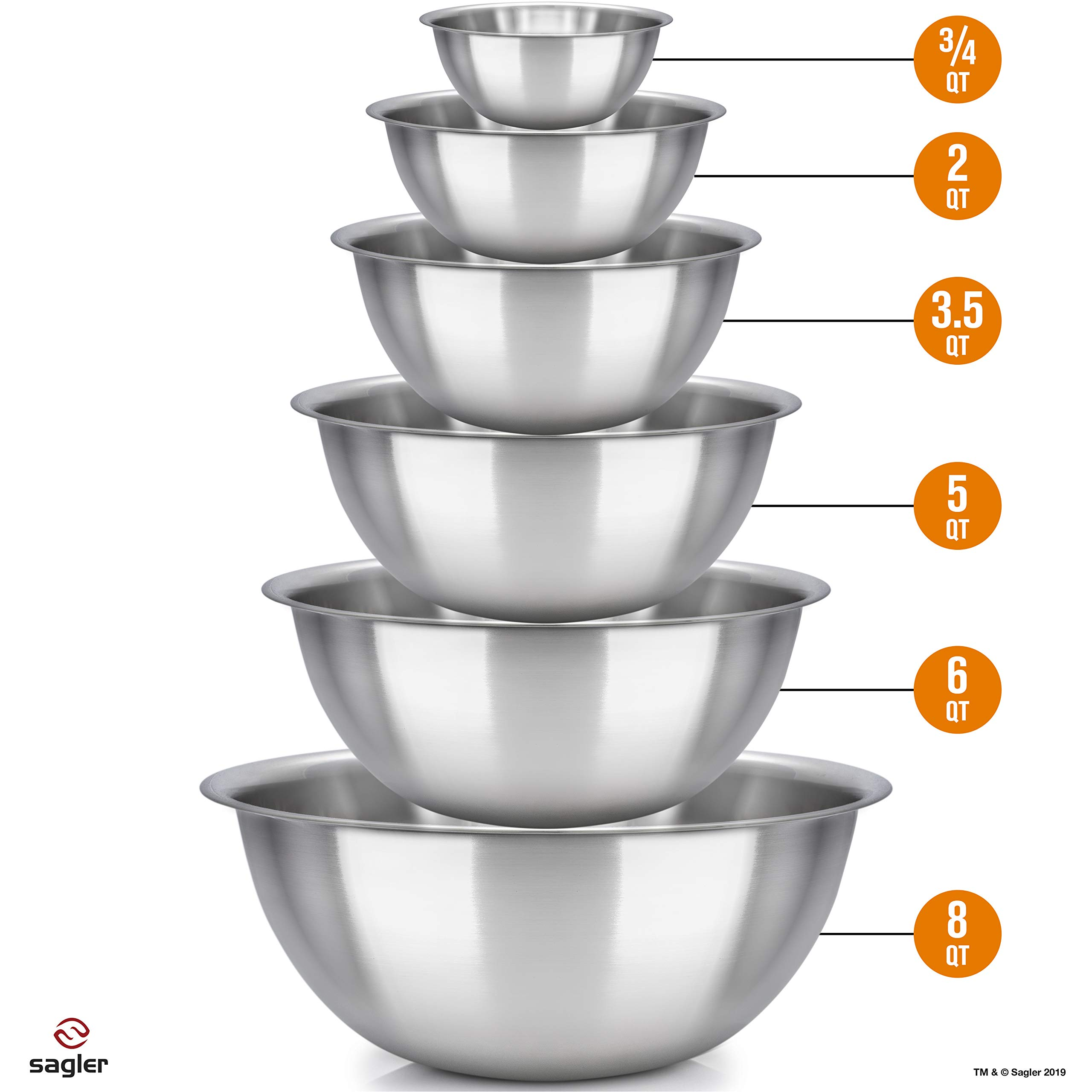 mixing bowls - mixing bowl Set of 6 - stainless steel mixing bowls - Polished Mirror kitchen bowls - Set Includes ¾, 2, 3.5, 5, 6, 8 Quart - Ideal For Cooking & Serving - Easy to clean - Great gift by Sagler