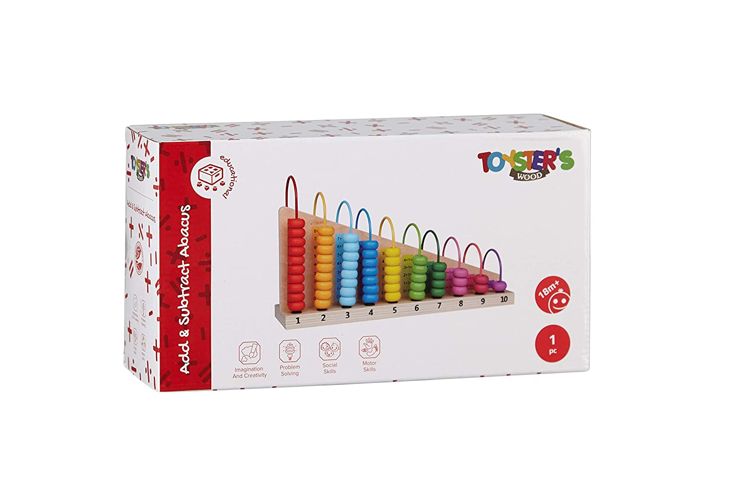 Colorful Educational Toys 55 Colorful Beads and Wooden Mathematical Counting Frame   ED670 Math Learning Games for Kids TOYSTERS Add and Subtract Abacus Toy