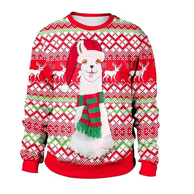 on sale b5eee ad66f Geili Weihnachts Pullover Damen Alpaka Gedruckt Santa ...