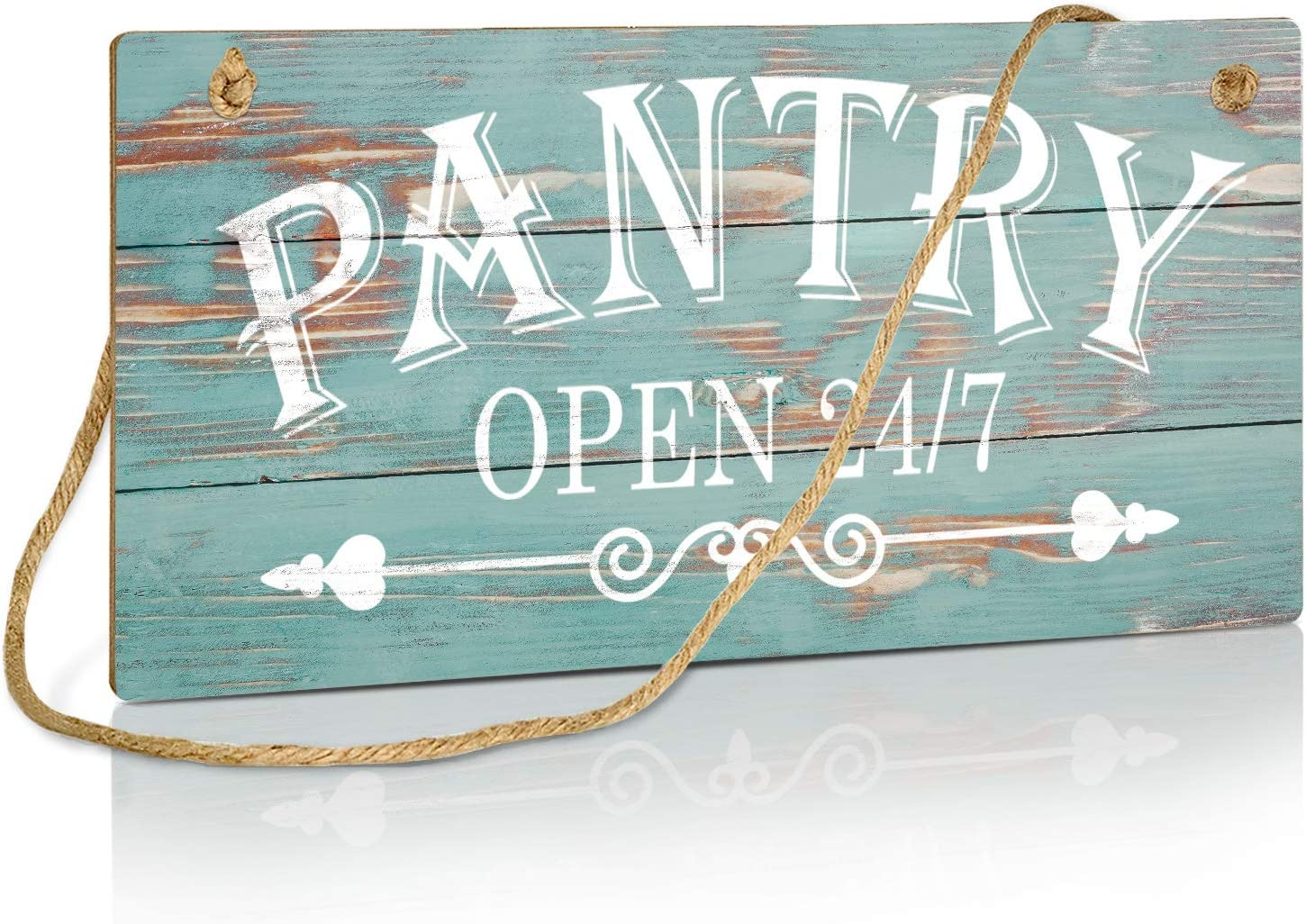 Putuo Decor Blue Pantry Sign, Farmhouse Kitchen Wall Sign for Home, Restaurant, laundry, Coffee Shop, 10x5 Inches Hanging Plaque Sign - Pantry Open 24/7