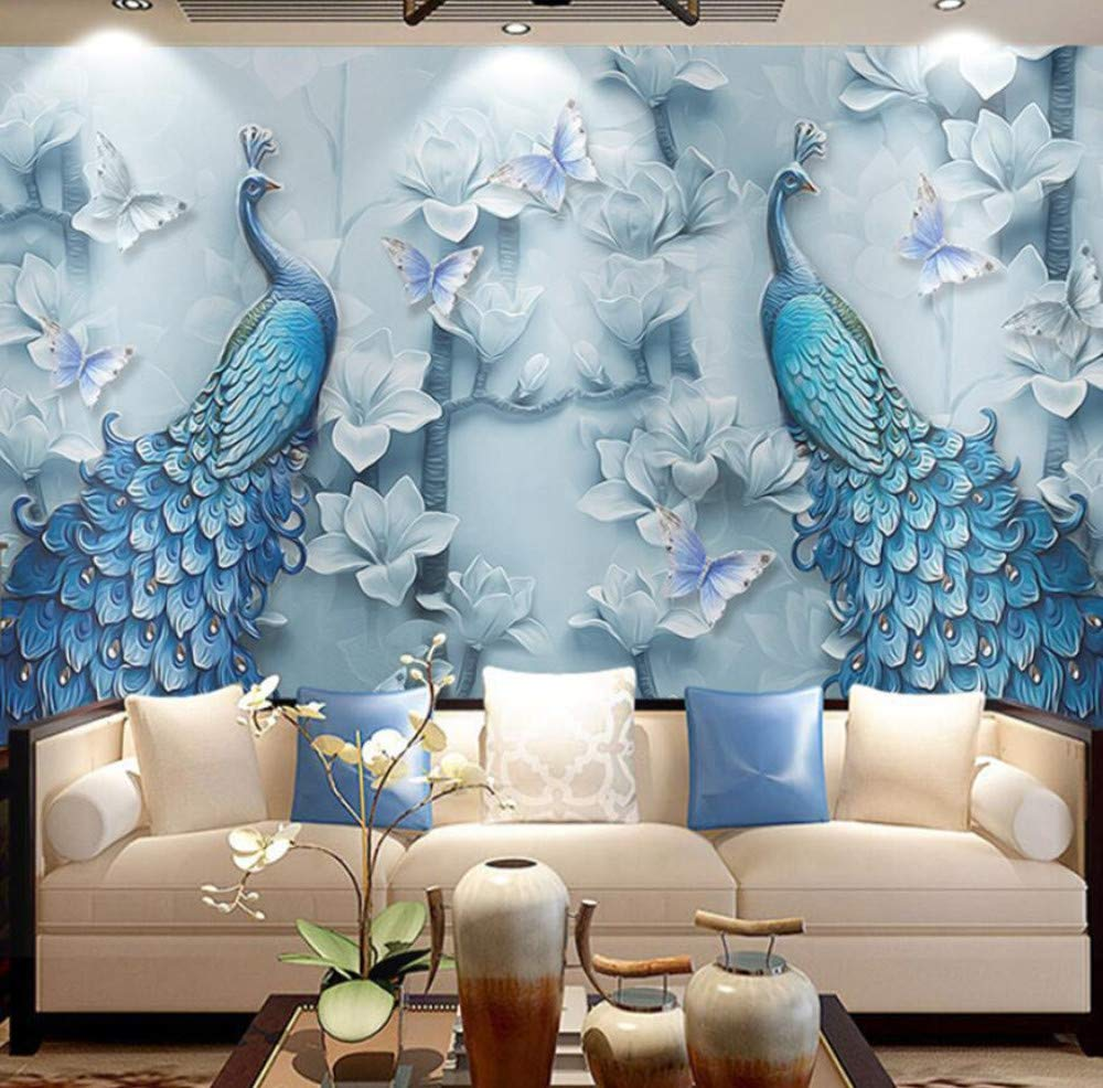 Chinese Style 3D Embossed Blue Peacock Oil Painting Mural Wallpaper Living Room TV Sofa Hotel Background Wallpaper Classic Decor,430 Autocollants 300cm