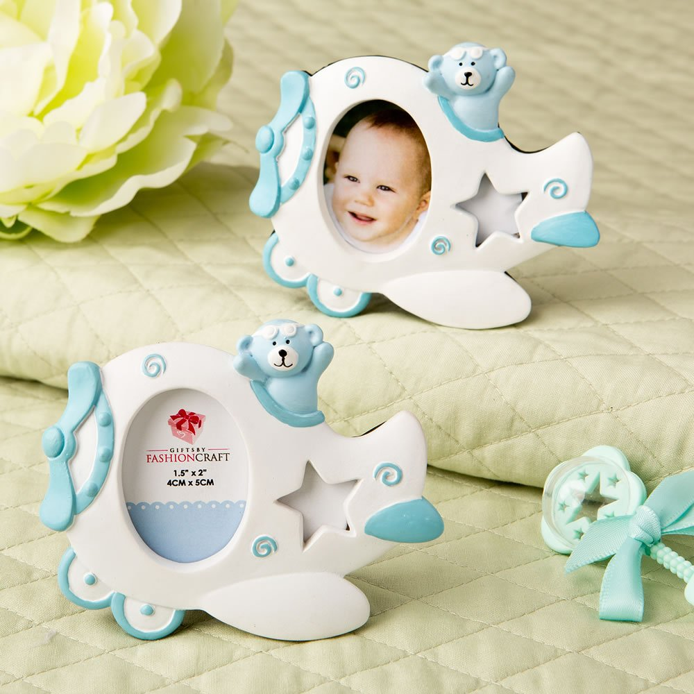 125 Adorable Blue Airplane Design Photo Frames with Teddy Bear Decoration