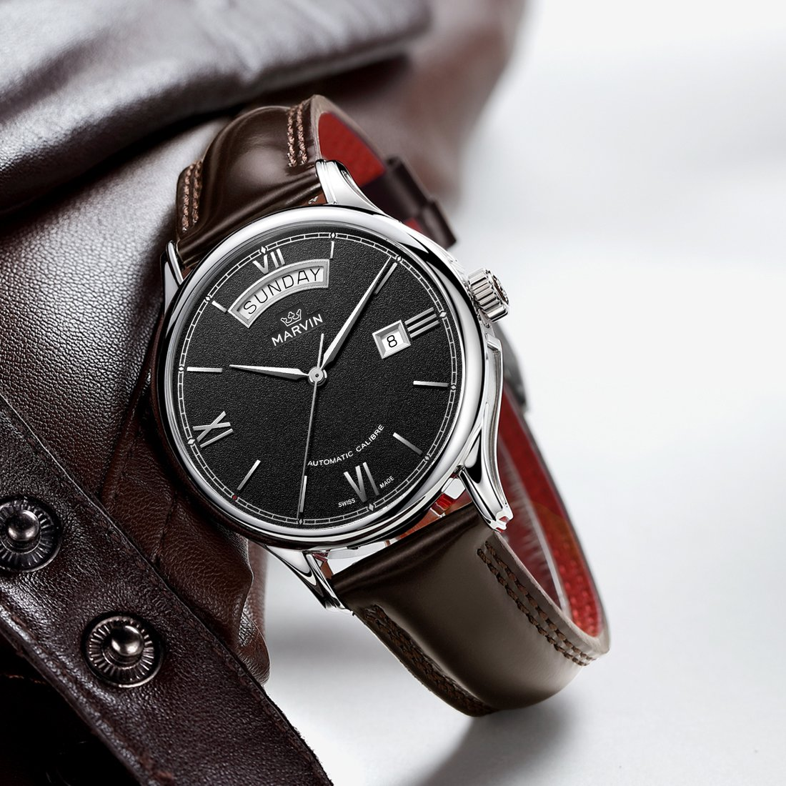 Amazon.com: Marvin Swiss Made Mens Automatic Movement Casual Watches Black Dial Big Date Roman Numeral Analog Display Waterproof: Watches