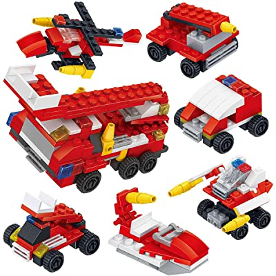 GIFTEXPRESS Toy Filled Easter Eggs Surprise Eggs with Building Blocks DIY 6 Styles Building Blocks Toys For Party Favors School (Fire Truck)