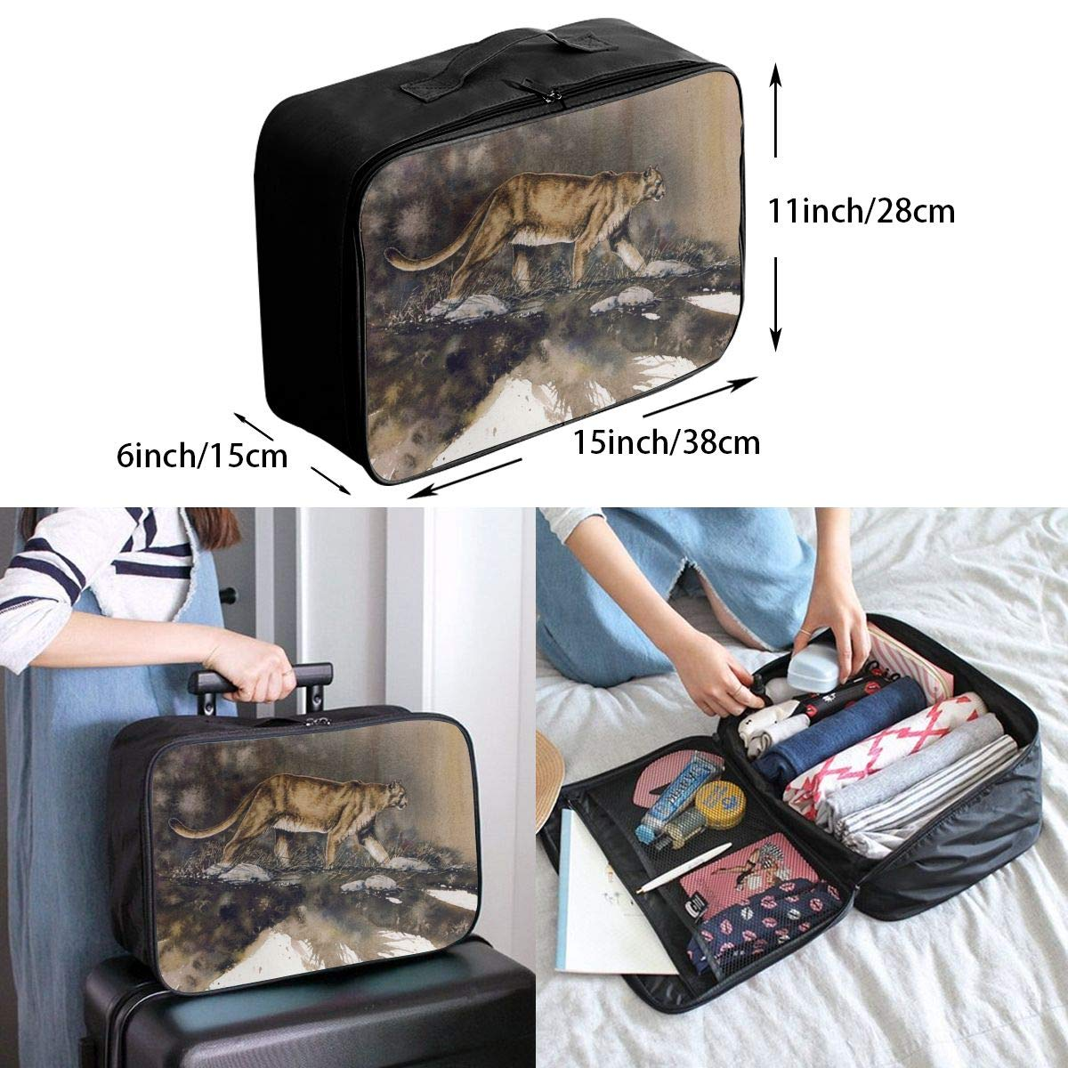 Travel Luggage Duffle Bag Lightweight Portable Handbag Lion Big Cat Large Capacity Waterproof Foldable Storage Tote