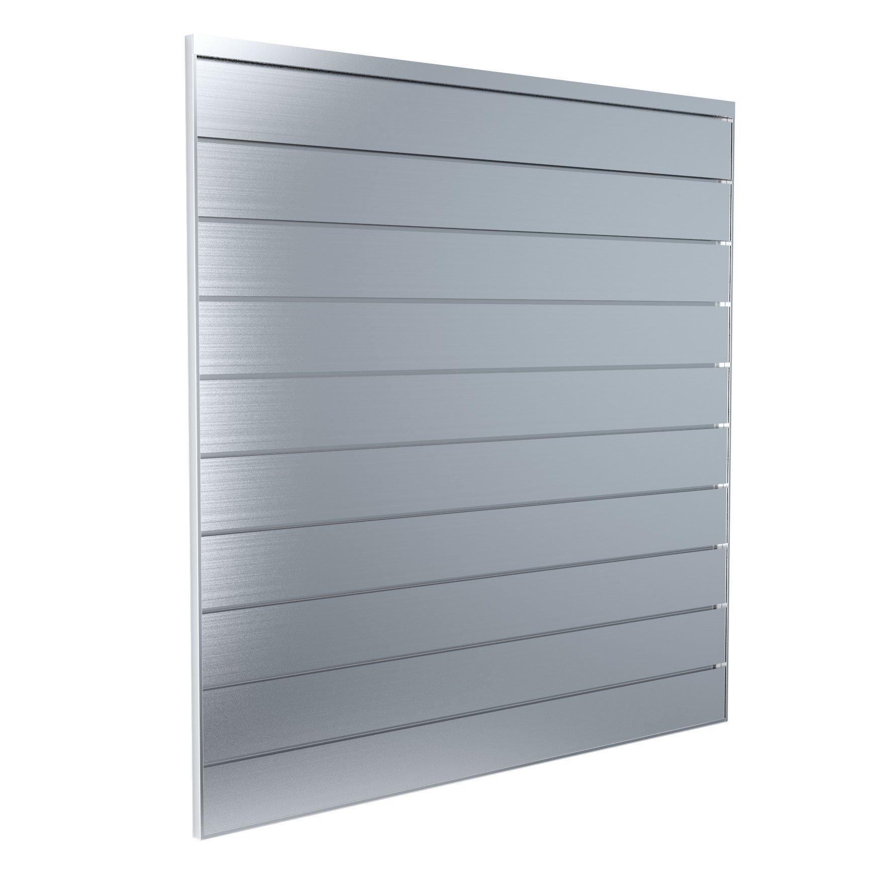 Proslat 88901 Aluminum Slatwall Garage Organize Storage System with 5 Steel Hooks, 4 x 4', Silver