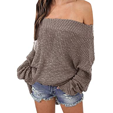 Damen Off Shoulder Lange Ärmel Sweatshirt Beiläufig Tops Pullover Jumper Sweater