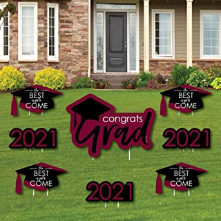 product image for Big Dot of Happiness Maroon Grad - Best is Yet to Come - Yard Sign and Outdoor Lawn Decorations - Burgundy 2021 Graduation Party Yard Signs - Set of 8