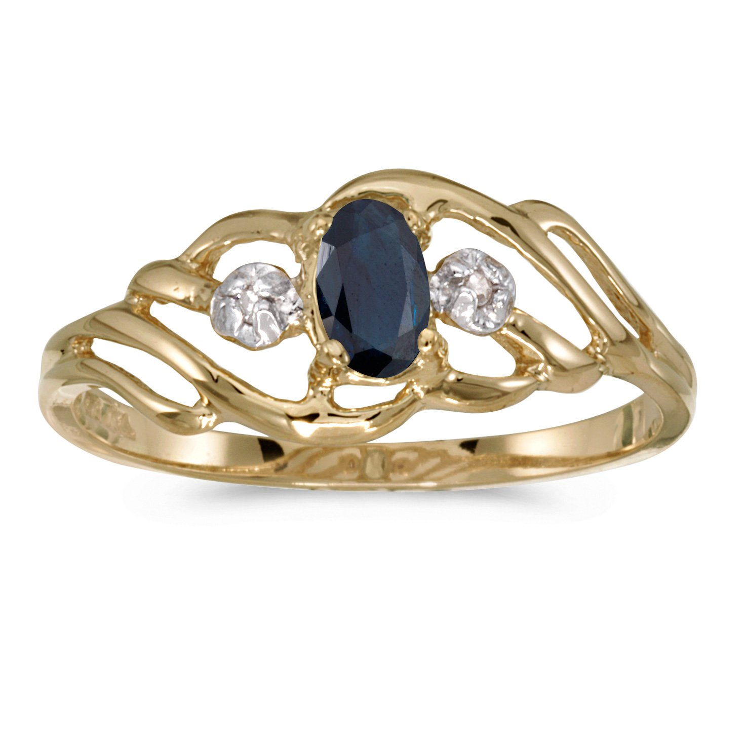 0.25 Carat (ctw) 14k Yellow Gold Oval Blue Sapphire and Diamond Fashion Cocktail Anniversary Ring (5 x 3 MM) - Size 8