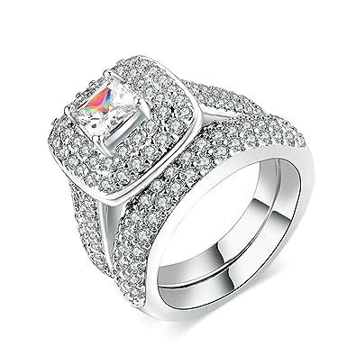 Amazon Com Knsam Gold Plated Princess Cut Lab Created Diamond