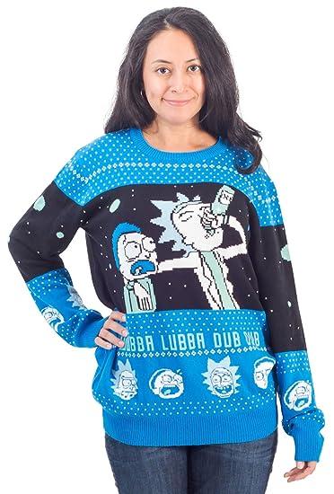Amazoncom Rick And Morty Wubba Lubba Spaceship Christmas Sweater