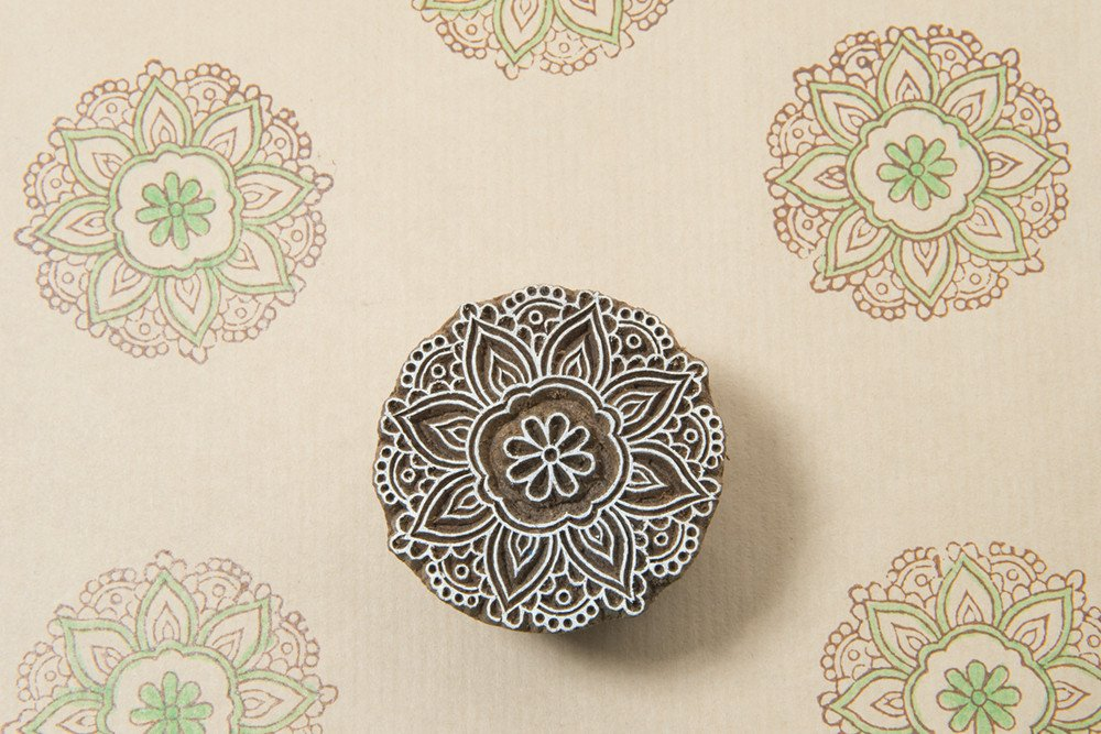 Blockwallah Crochet Mandala Wooden Block Stamp