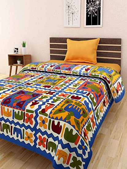 Bombay Spreads Multi Color 100% Pure Cotton Single Bed Sheet Without Pillow  Cover Elegant Design