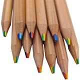 Rainbow Pencils - 7 Colors in 1 Pencil made from Natural Cedar (Bundle of 12) Writes in a rainbow of Brilliant Colors