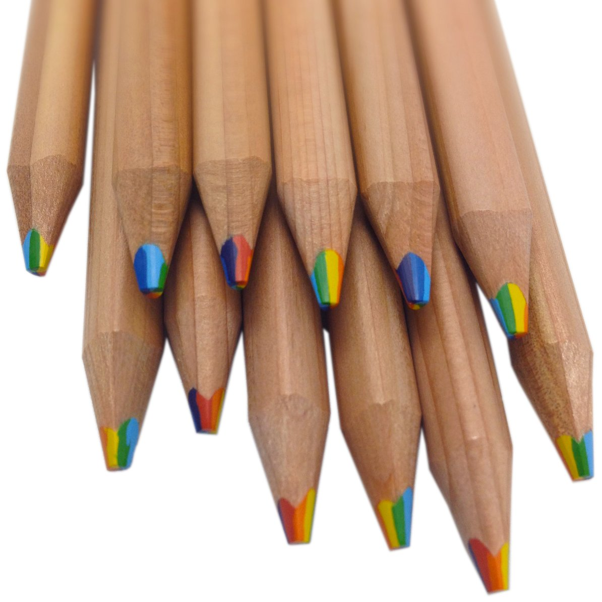 Rainbow Pencils - 7 Colors in 1 Pencil made from Natural Cedar (Bundle of 12) Writes in a rainbow of Brilliant Colors by Stubby Pencil Studio
