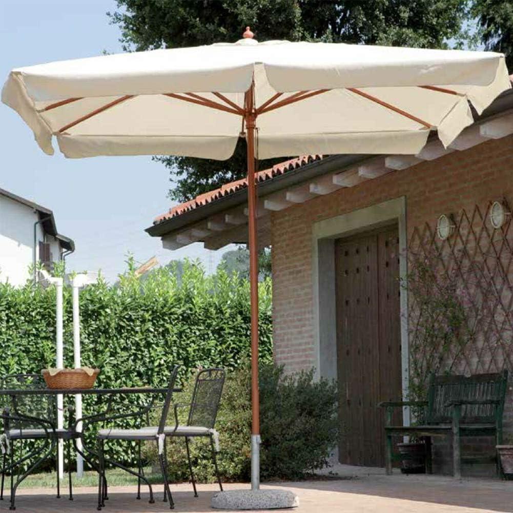 Bakaji - Sombrilla de jardín, poste central de madera, sistema Air Vent para decoración exterior, cenador, piscina, jardín, terraza, ambientes exteriores, lona color crudo: Amazon.es: Jardín