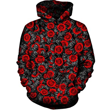 d7ee876b Men Women Casual Red Rose Cool 3D Print Hooded Sweatshirt Tracksuit  Pullover Tops Casual Hoodies Outdoor