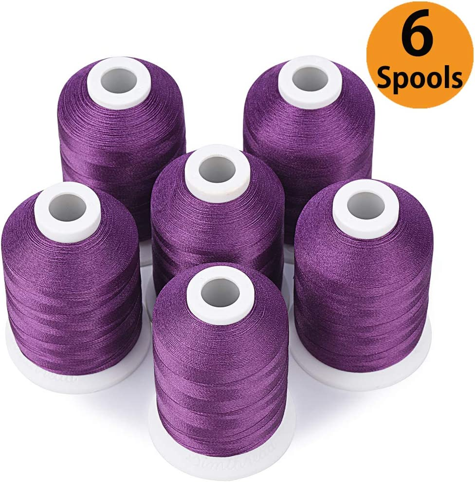Simthread 6 Purple Polyester Machine Embroidery Threads 1000M 1100Yards for Brother Babylock Janome Pfaff Singer Bernina Home Embroidery and Sewing Machines Voilet Purple