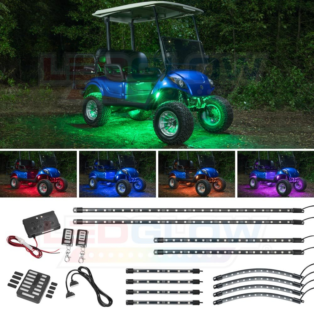 Ledglow 12pc Million Color Led Golf Cart Underglow Accent Neon Lighting Kit With Wheel Well Interior Lights For Ezgo Yamaha Club Car Fits Electric