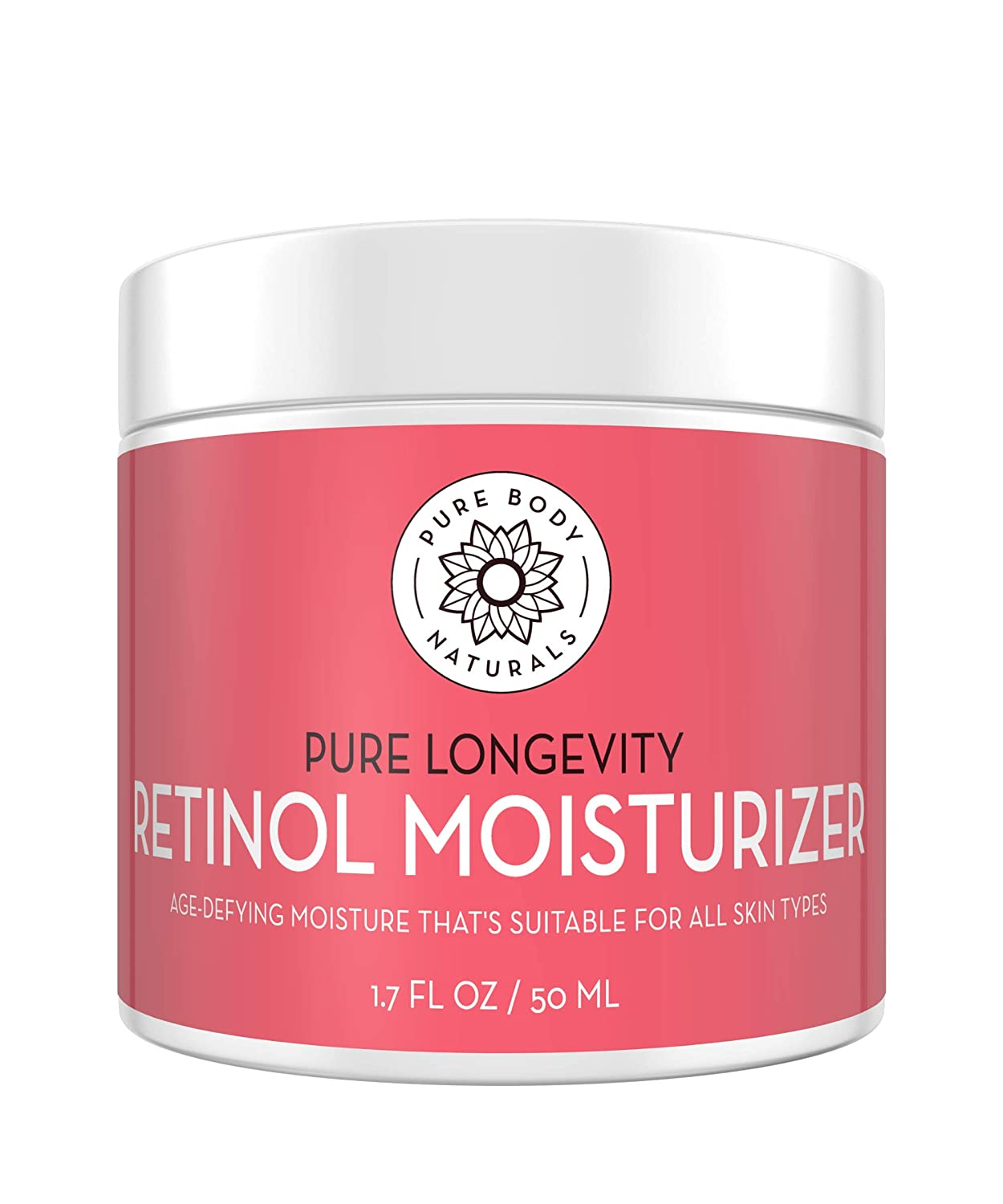 Moisturizing Retinol Cream for Face, Age Defying Eye Cream for Wrinkles and Lines with Hyaluronic Acid, Shea Butter, and Jojoba Oil by Pure Body Naturals, 1.78 Ounces, Packaging Varies