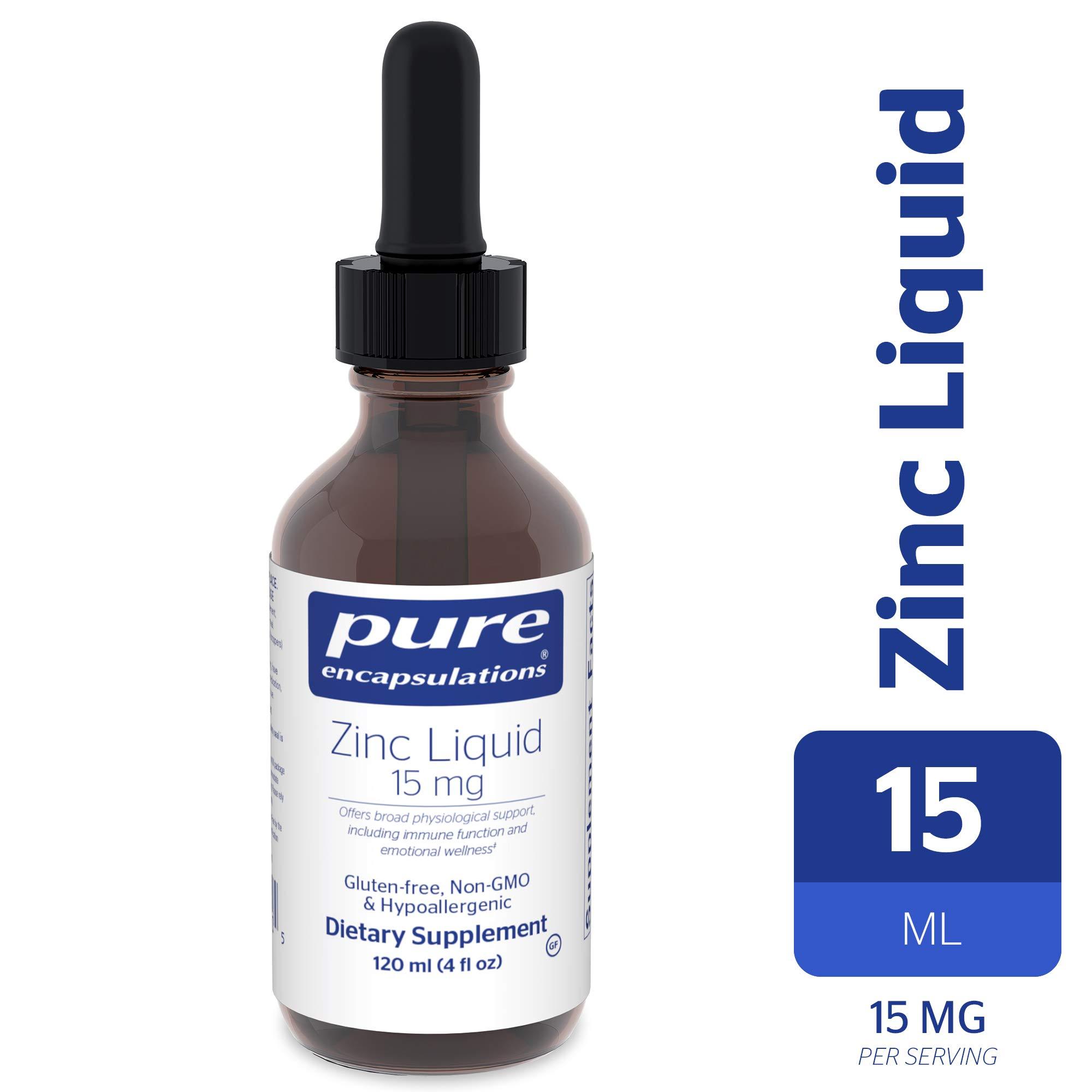 Pure Encapsulations - Zinc Liquid 15 mg - Zinc Gluconate Hypoallergenic Supplement for Immune Support* - 120 ml (4 fl oz)