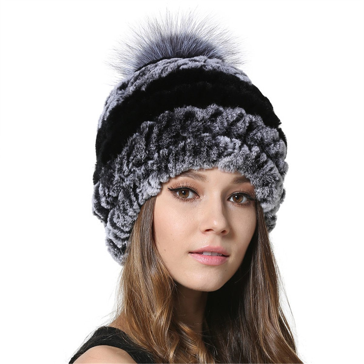 MEEFUR Women Genuine Rex Rabbit Fur Hats Bobble Beanies with Silver Fox Fur Ball OneSize)