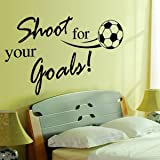 "Dnven (32""w X 24""h) Kids Sports Learning PVC Removable Wall Art Sticker Decal DIY Room Kid Mural Decor Shoot For Your Goals Soccer Football Quotes Lettering Vinyl Wall Decals Motivational"