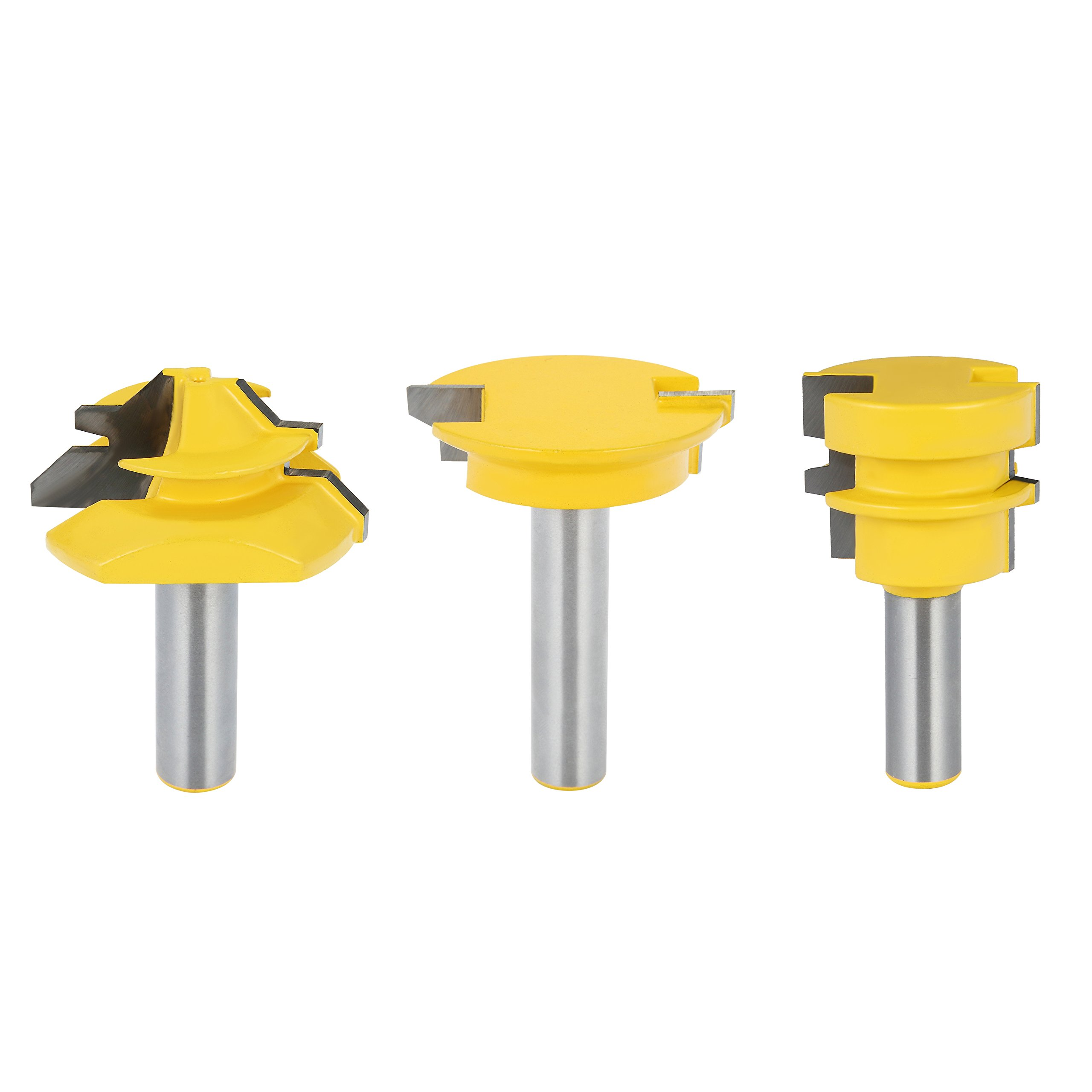 FORTOMORROW Jointing Router Bit Set -Lock Miter/Glue Joint/ Drawer Front 3pcs router bits for wood/milling tools/wood milling cutter