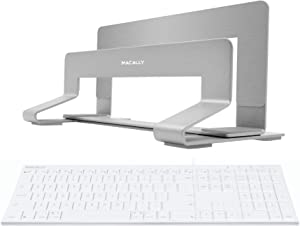 Macally Ultra Slim Wired Computer Keyboard and Vertical Laptop Stand, Declutter Your Desk, Declutter Your Mind