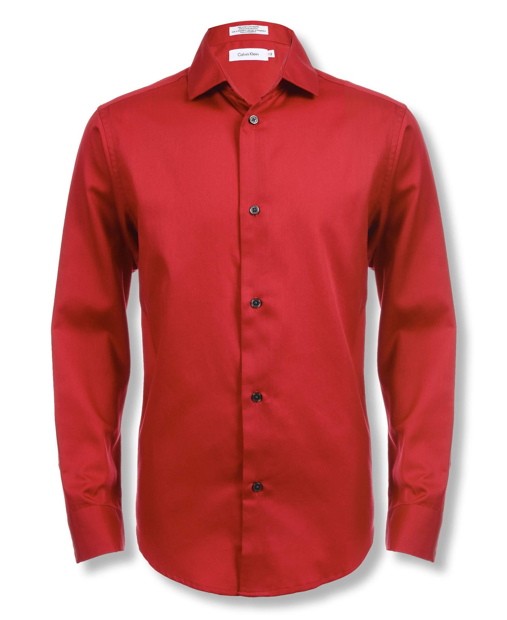 Calvin Klein Boys' Big Long Sleeve Sateen Dress Shirt, Dark Red 18