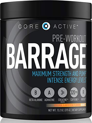 Core Active Barrage Pre-Workout Maximum Strength and Endurance Extreme Pump with Creatine – Intense Energy, Mental Focus, and Improved Workout Performance – Preworkout for Men – Orange 30 Servings