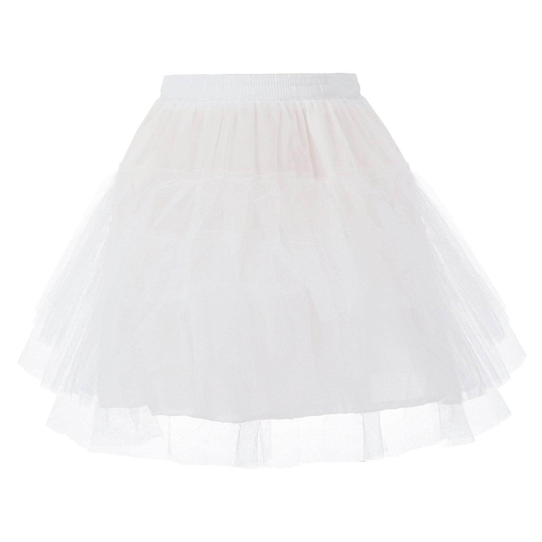 Danna Belle Girls Kids Elastic Waist 3-Tier Tulle Netting Crinoline Petticoat Underskirt