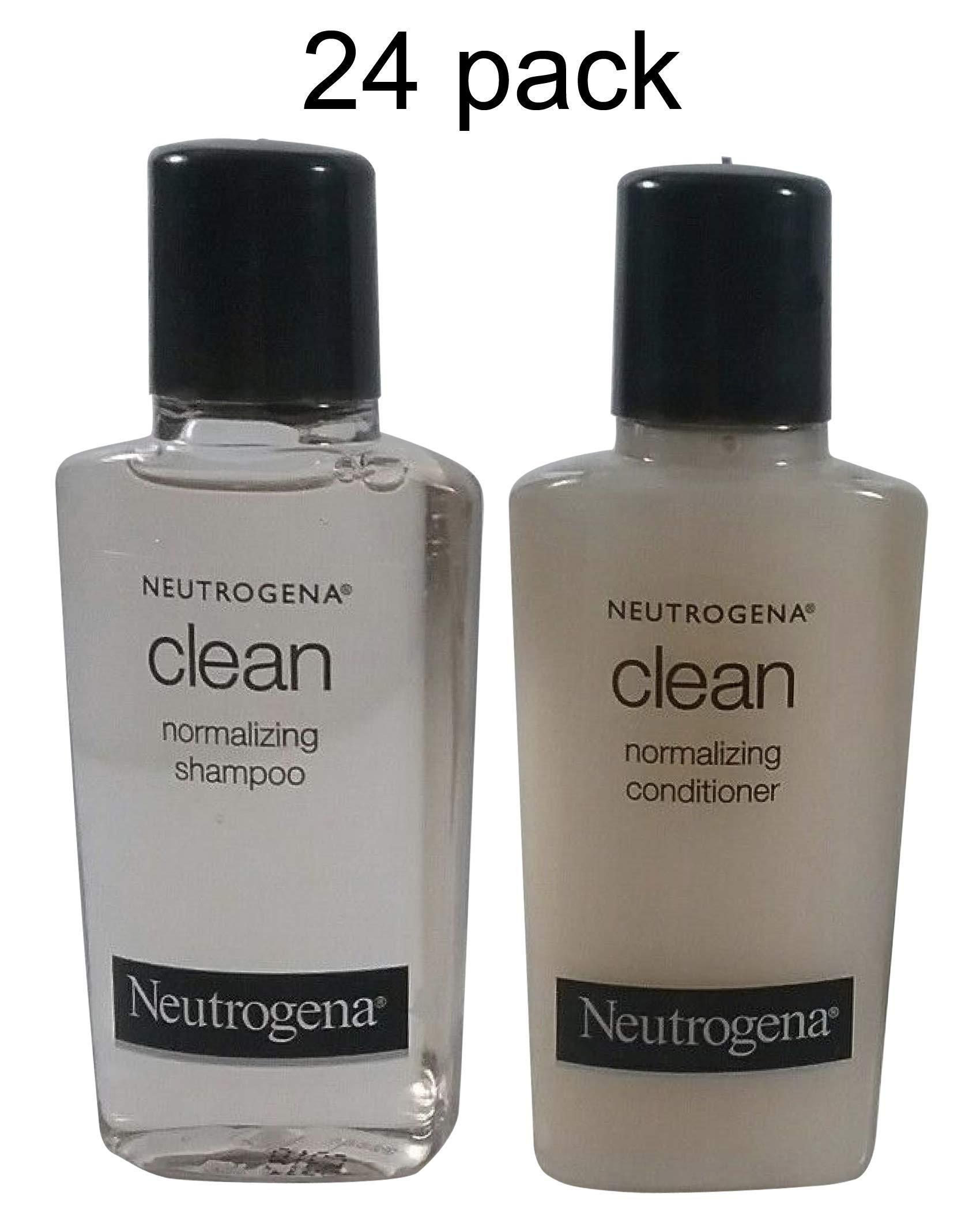 Neutrogena Clean Normalizing Shampoo & Conditioner 0.9 oz bottles - Lot of 24 - (12 each) - Total of 21.6 oz by Neutrogena