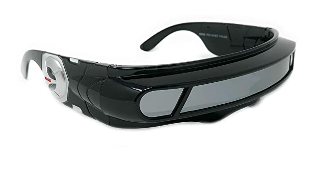ba13099de WebDeals - Futuristic Cyclops Wrap Around Monoblock Shield Sunglasses  (Black Gloss, Mirror)