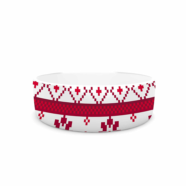 KESS InHouse Noonday Design Red Fairisle Christmas Pattern  Red White Pet Bowl, 7
