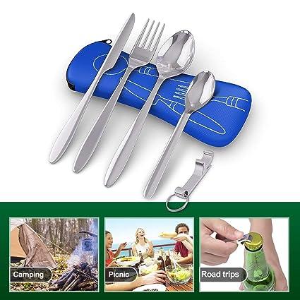 BRAMBLE! 5 Premium Acero Inoxidable Set de Cubiertos Portátiles para Llevar, Viajes, Trabajo, Acampada/Camping, Picnic - Cuchara Tenedor Cucharita ...