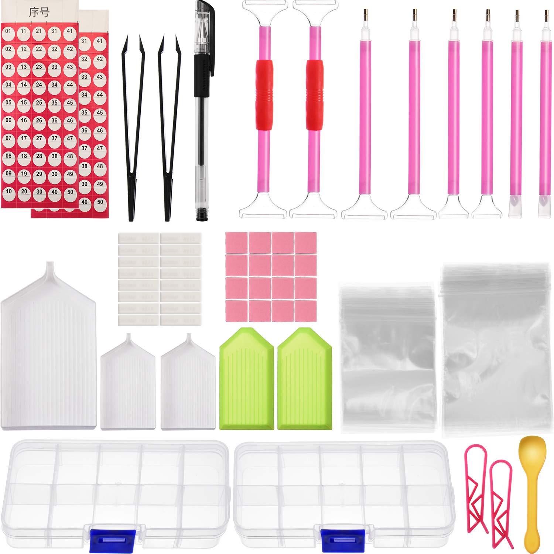 Maxdot 193 Pieces Diamond Painting Tools Kits, Include Diamond Stitch Pen, Tweezers, Glue, Adhesive Tape, Plastic Tray, Plastic Clip, Diamond Embroidery Box and Bags, Labels, Mark Pen, Spoon for Diamo