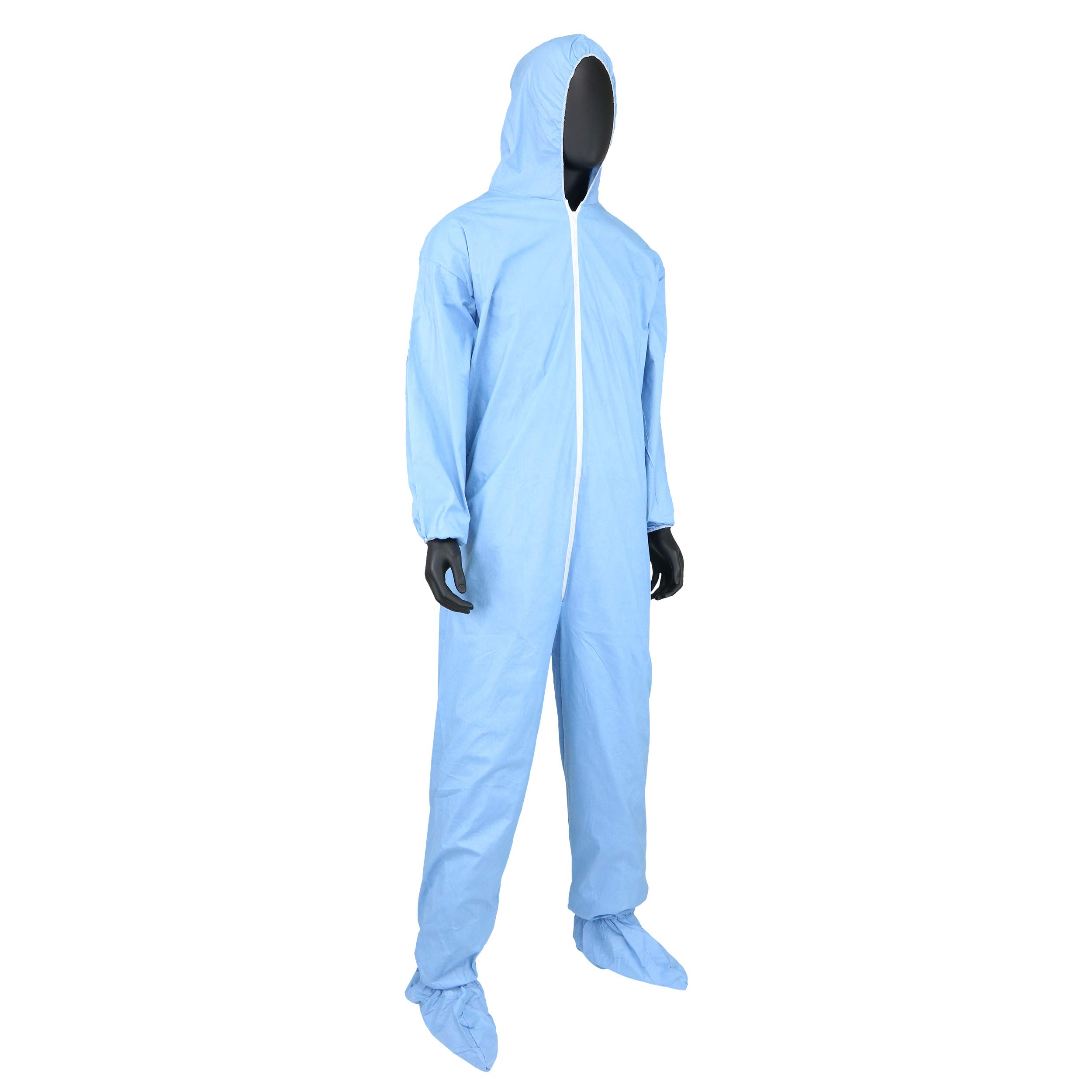 West Chester 3109/XL Posi FR Coverall Hood, Boot, Elastic Wrist & Ankle, XL, Blue (Box of 25) by West Chester (Image #6)