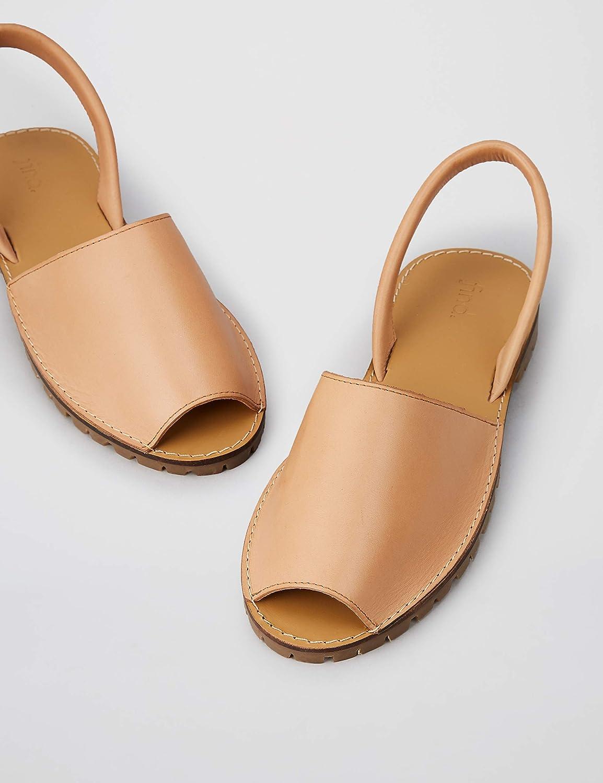 Marca Amazon - find. Menorcan Leather - Sandalias de Talón Abierto Mujer Marrón Tan Tan